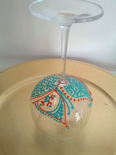Hand Painted Henna Wine Glass Orange Turquoise FREE SHIPPING by RusticNids, $30.00