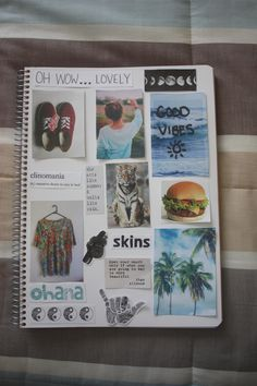 Make a scrapbook of random stuff! Tumblr Scrapbook, Ideas Scrapbook, Notebook Diy, Notebook Covers, Notebook Collage, Diy Pinterest, Diy And Crafts, Arts And Crafts, Diy Tumblr