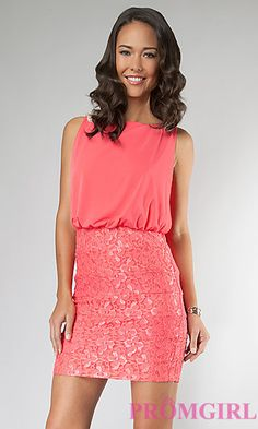 Short Sleeveless Dress with Lace Skirt at PromGirl.com/HOMECOMING COURT??