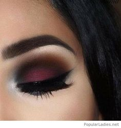 Awesome burgundy and black eye makeup