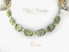 Unique Coro Green Molded Flower Glass Necklace/Choker, Gold Tone Glass Vintage Necklace