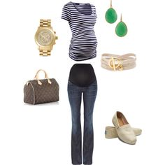 Stripe spring summer maternity outfit- I always forget about the green /navy combo!