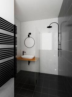 Interior design of family house based on simple minimalistic colour scheme and contrast of cold and warm materias such as concrete and wood. Design by Unhary. Color Schemes, Concrete, Bathtub, Minimalist, Black And White, Interior Design, Mirror, Architecture, Simple