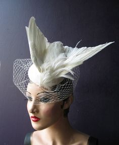 27522ce1043 Julia of the Spirits an ivory white taxidermy bridal feather hat with  birdcage veil