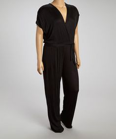 Another great find on #zulily! Black Surplice Jumpsuit  - Plus by GLAM #zulilyfinds