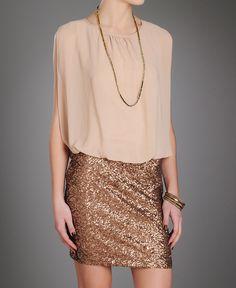 MM Couture Sequin Hem Chiffon Dress