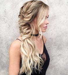 Messy+Side+Fishtail+For+Long+Hair #weddinghairstyles