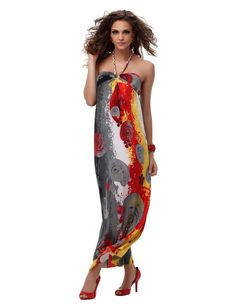 awesome Carefree Halter Strapless Floral Imprint Maxi Dress