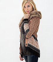 Gimmicks by BKE Faux Fur Cardigan Sweater