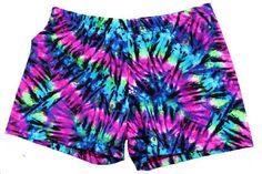 Volleyball Spandex Shorts - Neon Tie-Dye
