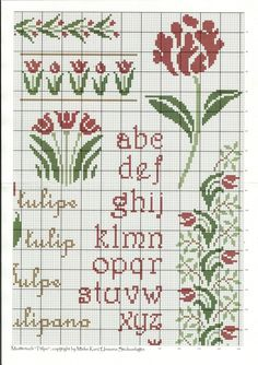 Tulip Sampler by Unisono of 123 Cross Stitch, Cross Stitch Numbers, Cross Stitch Letters, Cross Stitch Boards, Cross Stitch Samplers, Cross Stitch Flowers, Cross Stitch Designs, Cross Stitching, Cross Stitch Embroidery