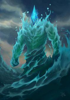 Poseidon's Legionary (Medium bound water elemental) Dark Fantasy Art, Fantasy Artwork, Fantasy World, Fantasy Monster, Monster Art, Fantasy Beasts, Water Element, Monster Design, Wow Art