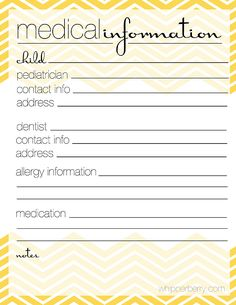 keep track of your family's medical information in the family planner from http://whipperberry.com #printable