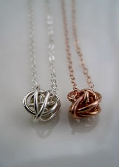 Forever Love Knot Necklace in Rose Gold Vermeil by LeJasChic