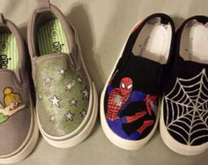 Kids painted canvas shoes  tinkerbell and Spider-Man Custom Painted Shoes 00e6d9cb63