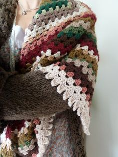 Crocheted shawl granny square shawl, perfect for yarn leftovers! (love that edging!!)