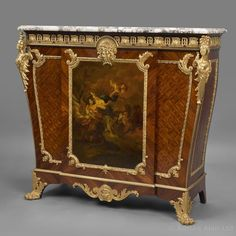 For Sale on - A very fine Louis XVI style gilt-bronze mounted parquetry and Vernis Martin side Cabinet by François Linke. Antique Furniture For Sale, French Furniture, Fine Furniture, Furniture Projects, Table Furniture, Furniture Makeover, Louis Xvi, Regency Furniture, Painting Wooden Furniture