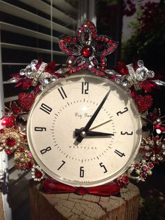 Vintage Big Ben clock decorated with costume diamonds & rubies!