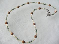 Seed bead brown gemstone necklace affordable inexpensive