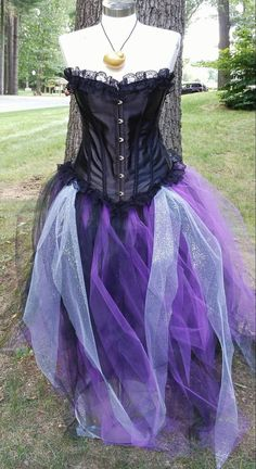 Ursula from the little mermaid diy costume the halloweenies purple and black corset tulle dress ursula costumecosplay corset top tulle tutu skirt solutioingenieria Images