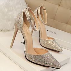 Women Pumps Sexy High Heels Shoes Woman Silver Rhinestone Wedding Shoes High Hee… – Best Of Likes Share Rhinestone Wedding Shoes, Wedding Shoes Heels, Prom Heels, Bridal Shoes, Silver Rhinestone, Gold Wedding, Wedding Decor, Bridal Belts, Rhinestone Heels