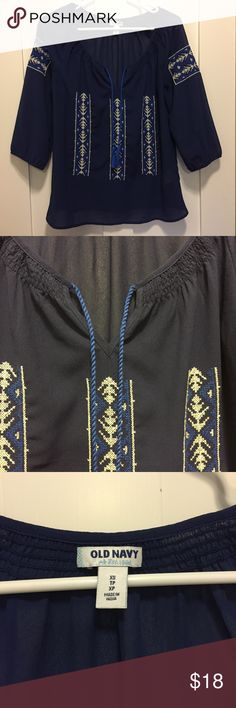 Embroidered sheer blouse Navy blue embroidered sheer blouse with tassels. Worn a handful of times. Old Navy Tops Blouses
