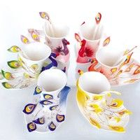 Wish | Ceramic Porcelain enamel Mugs peacock coffee cup tea set cup fashion ceramic fashion colored drawing set creative tea cup Arts and crafts