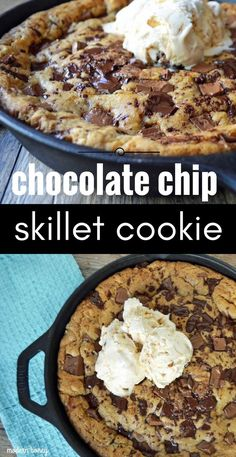 Chocolate Chip Skillet Cookie Recipe. Entire recipe made in one skillet! Decadent browned butter chocolate chip cookie dough baked in cast iron skillet. The ultimate pizookie or pizza cookie recipe. 5 Star rated cookie recipe. www.modernhoney.com