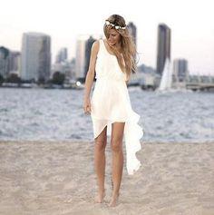 2015 New Short White/Ivory Chiffon Summer beach Wedding dress Bridal gown Custom