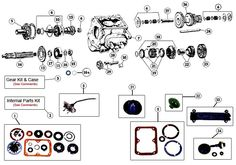 T176 and T177 4 Speed Transmission Exploded View Diagram