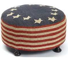 4th of July Ottoman Patriotic Bedroom, Round Ottoman, Ottoman Ideas, Blue Ottoman, Ottoman Cover, Home Of The Brave, Let Freedom Ring, Cocktail Ottoman, Patriotic Decorations