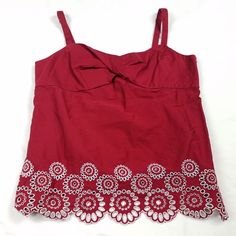 Ann Taylor LOFT Womens Tank Top Cami Camisole Size 12 Red Embroidered Eyelet O8 #AnnTaylorLOFT #TankCami #Casual