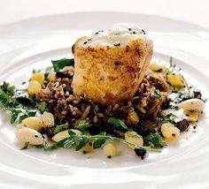 Citrus-marinated monkfish with lemon dressing recipe - Recipes - BBC Good Food