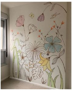 Simple Wall Paintings, Wall Painting Decor, Mural Wall Art, Diy Wall Art, Home Wall Art, Decorative Wall Paintings, Painted Wall Murals, Diy Wand, Floral Pattern Wallpaper