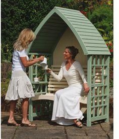 Arbour & Pergola Garden Arbours, Wooden Garden Furniture, Diy Garden Decor, Garden Ideas, Corner Garden, Outdoor Spaces, Coffee Shop, Pergola, Shed