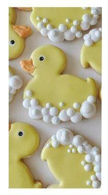 Baby Shower Cookies-Ducky Cookies-Duck w/ Bubbles Cookie