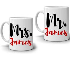 """Personalized """"Mr and Mrs"""" Couples Coffee Mug Set - Romantic Gift for Wedding, Anniversary and Valentines Day! - Printed on Both Sides Couples Coffee Mugs, Couple Mugs, Wedding Anniversary Gifts, Wedding Gifts, Weird Gifts, Gift Quotes, Unique Presents, Romantic Gifts, Cute Designs"""