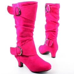 Pink Suede Round Toe Buckle Ruched High Heel Mid Calf Boots for little girls