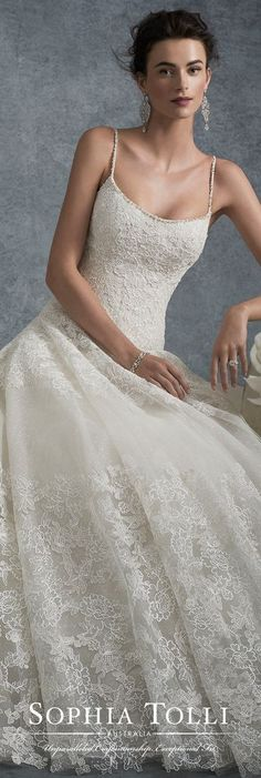 Spaghetti strap lace and tulle ball gown wedding dress Sophia Tolli Y21743
