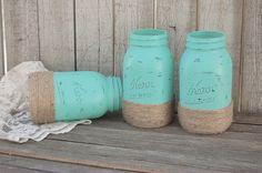 Aqua mason jars wrapped with jute