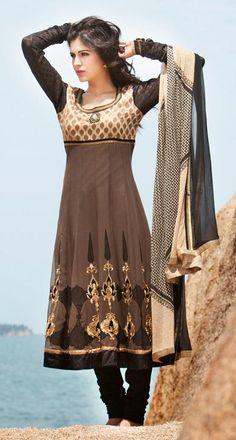$150.36 Brown A Line Resham Work Silk Anarkali Salwar Suit 26635