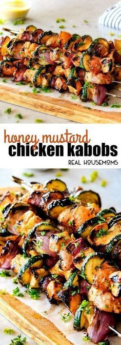 These easy Honey Mustard Chicken Kabobs are so juicy and exploding with flavor in every mouthwatering bite! Quite possibly the most delectable chicken kabobs you will ever eat and bonus they can be grilled or baked! via (garlic chicken recipe baked) Barbecue Recipes, Grilling Recipes, Cooking Recipes, Healthy Recipes, Easy Bbq Recipes, Grilling Ideas, Mini Churros, Food Dishes, Delish