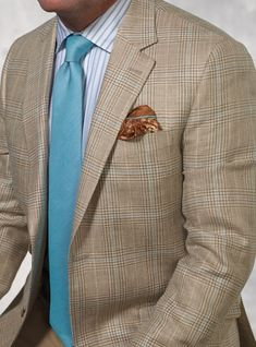 Taupe and Cream Glen Plaid Sport Coat with Windowpane