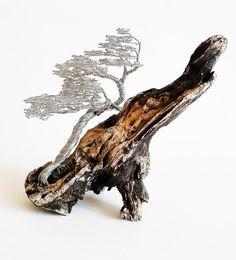 Windswept Tree / Driftwood Sculpture / Driftwood Artwork / Metal Sculpture / Unique Sculpture 18X15cm