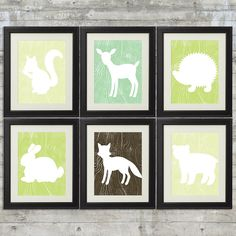 Woodland Nursery Art , Forest Nursery Art, Forest Animals, Little Critters - set of 6 -  8x10 Printables on Etsy, $31.94 CAD
