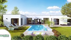 Modern villa design with swimming pool using modern house exterior illustration with swimming pool glass house and house elevation design pdf - Amazing Home Design Build Your House, Building A House, Small Cabin Plans, Small Villa, Flat Roof House, Modern Villa Design, Grey Exterior, Courtyard House, House Elevation