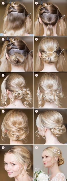 Romantic Beauty: Bridal Hair and Make-Up Tutorial by Tori Harris Create the perfect chignon with this fab tutorial by Tori Harris Bride Hairstyles, Trendy Hairstyles, Gorgeous Hairstyles, Updo Hairstyle, Hairstyles With Fascinators, Vintage Hairstyles, Bridesmaid Hairstyles, Homecoming Hairstyles, Bridal Hair And Makeup