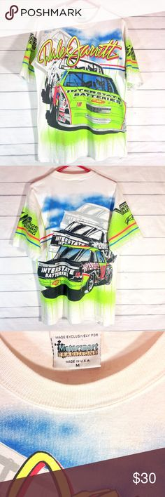 Vintage Dale Jarrett Racing Shirt Mens Medium EUC In excellent condition!  Vintage, collectible NASCAR shirt. Dale Jarrett Interstate Batteries #18 racing t-shirt. Printed on heavy duty cotton. Vibrant colors. Motorsport Traditions 1994.  Copyright on shirt. Men's Medium.  Please ask all questions before you purchase!  No trades or holds, but I happily consider offers via the Offer Button! Bundle for best prices. Use bundle feature or ask for a custom bundle. Vintage Shirts Tees - Short…