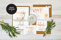 Wedding invitation set, Orange wedding invitations, Printable wedding invitation set, Wedding suite, Wedding rsvp cards, Wishing well card