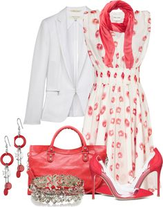 """Poppy Dress w White Tuxedo Jacket & PVC Panel Shoes"" by brendariley-1 on Polyvore"